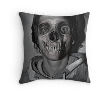 hooded skull Throw Pillow