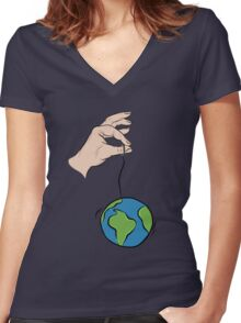 """So you think you can hold the world up by a string"" Women's Fitted V-Neck T-Shirt"