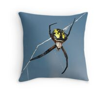 Yellow and black spider Throw Pillow