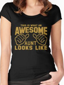 This is What an Awesome Aunt Looks Like Retro Women's Fitted Scoop T-Shirt