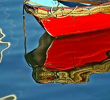 Red Skiff Reflections ~ Lyme Regis by Susie Peek