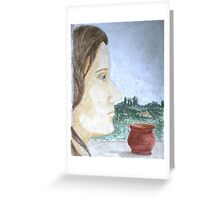 Thinking and looking out to the view Greeting Card