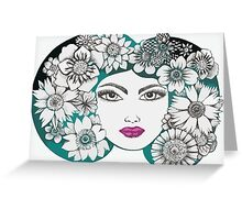 she wore flowers in her hair Greeting Card