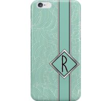 1920s Blue Deco Swing with Monogram letter R iPhone Case/Skin