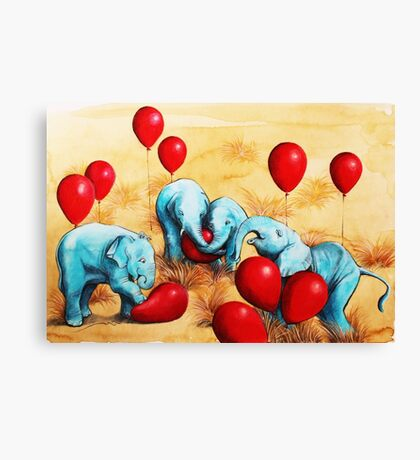 Baby Elephants Love Red Balloons Canvas Print