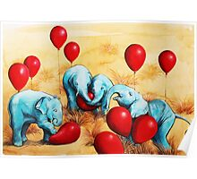 Baby Elephants Love Red Balloons Poster