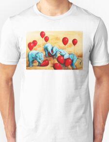 Baby Elephants Love Red Balloons Unisex T-Shirt