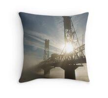 Hawthorne Bridge in Portland with fog and sun. Throw Pillow