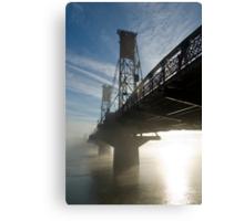 Hawthorne Bridge in Portland with fog and sun. Canvas Print