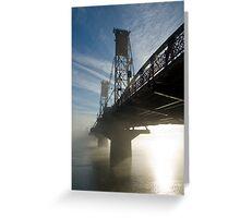 Hawthorne Bridge in Portland with fog and sun. Greeting Card