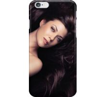 Beauty portrait of woman surrounded by long brown hair art photo print iPhone Case/Skin