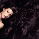 Beauty portrait of woman surrounded by long brown hair art photo print by ArtNudePhotos