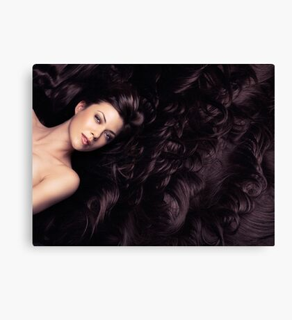 Beauty portrait of woman surrounded by long brown hair art photo print Canvas Print