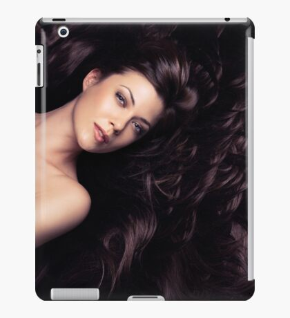 Beauty portrait of woman surrounded by long brown hair art photo print iPad Case/Skin