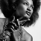 Beauty portrait of african american woman wearing jewellery black and white art photo print by ArtNudePhotos