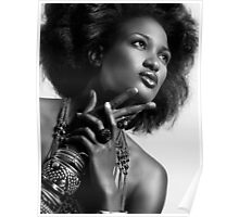 Beauty portrait of african american woman wearing jewellery black and white art photo print Poster