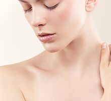 Beauty portrait of young woman with clean natural skin closed eyes art photo print by ArtNudePhotos