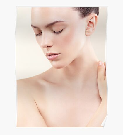 Beauty portrait of young woman with clean natural skin closed eyes art photo print Poster