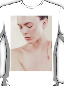 Beauty portrait of young woman with clean natural skin closed eyes art photo print T-Shirt