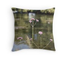 Flowers at the Lake Throw Pillow
