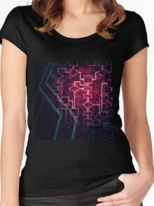 Abstract Algorithm Flowchart Background art photo print Women's Fitted Scoop T-Shirt