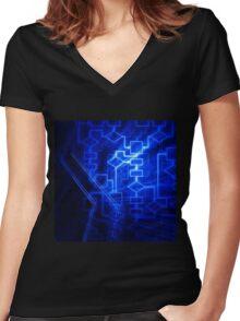 Flowchart algorithm diagram background art photo print Women's Fitted V-Neck T-Shirt