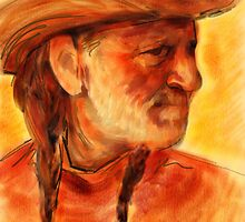 Willie Nelson Watercolor Portrait  by James Cattlett by CattlettArt