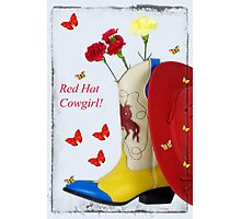 Western Red Hat Cowgirl Photographic Print