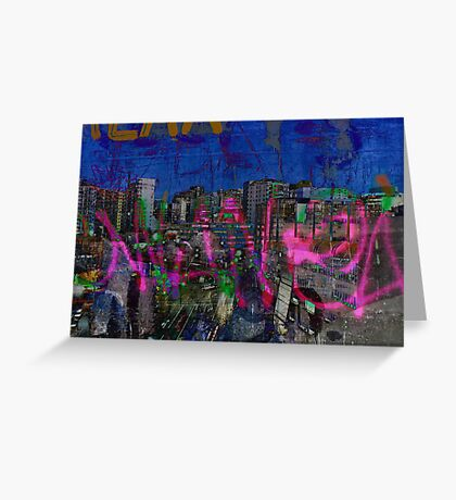 The Naked Neon of urban graffiti dreams. Greeting Card