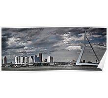 Rotterdam Skyline, erasmus Bridge. Poster