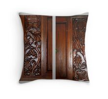 Carved Wood Throw Pillow