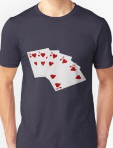 Poker Hands - Straight Flush Hearts Suit T-Shirt