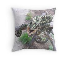 Colourful Chameleon Wrapped Around A Branch Throw Pillow