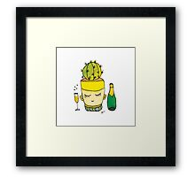 Champagne Charlotte The Drinking Cactus | Emma Watts Framed Print