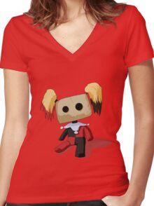 Harley Quinn Voodoo Doll Women's Fitted V-Neck T-Shirt