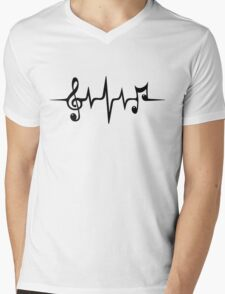 Music Pulse, Notes, Clef, Frequency, Wave, Sound, Dance Mens V-Neck T-Shirt
