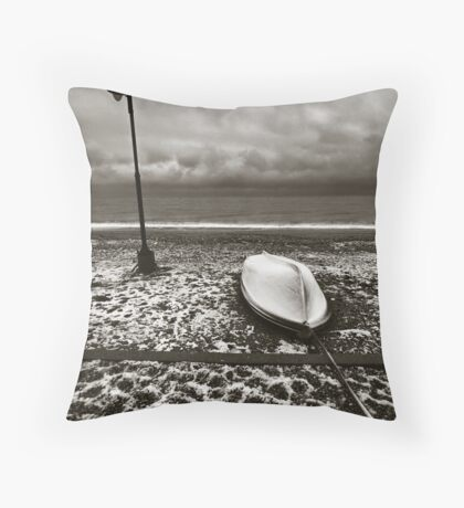 Winter boat. Throw Pillow