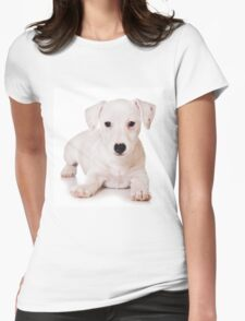 white Jack Russell Terrier puppy Womens Fitted T-Shirt