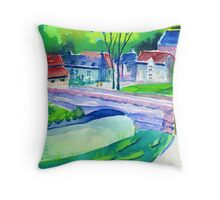 Watercolour of Mildale Village, Peak District, Derbyshire Throw Pillow