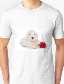 white terrier puppy and red flower T-Shirt