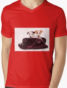 Two Jack Russell terrier puppy in a bag Mens V-Neck T-Shirt