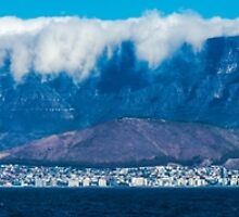 Cape Town and Table Mountain From Robben Island Panorama by Ric Raftis
