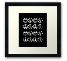 SLR Camera with Flash gun icons_white Framed Print