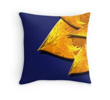 Flame Leaves on Blue Throw Pillow