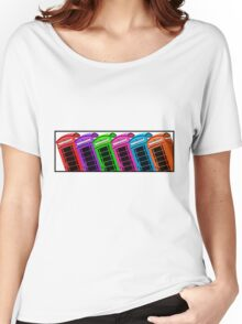 Red British Phone box 4 up Women's Relaxed Fit T-Shirt