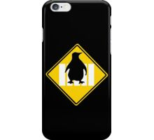 LINUX TUX PENGUIN CROSSING ROAD SIGN iPhone Case/Skin