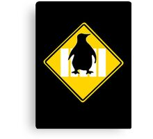 LINUX TUX PENGUIN CROSSING ROAD SIGN Canvas Print