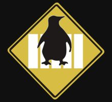 LINUX TUX PENGUIN CROSSING ROAD SIGN by SofiaYoushi