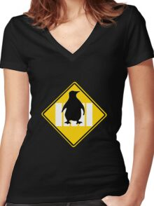 LINUX TUX PENGUIN CROSSING ROAD SIGN Women's Fitted V-Neck T-Shirt