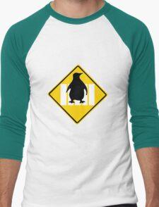 LINUX TUX PENGUIN CROSSING ROAD SIGN Men's Baseball ¾ T-Shirt